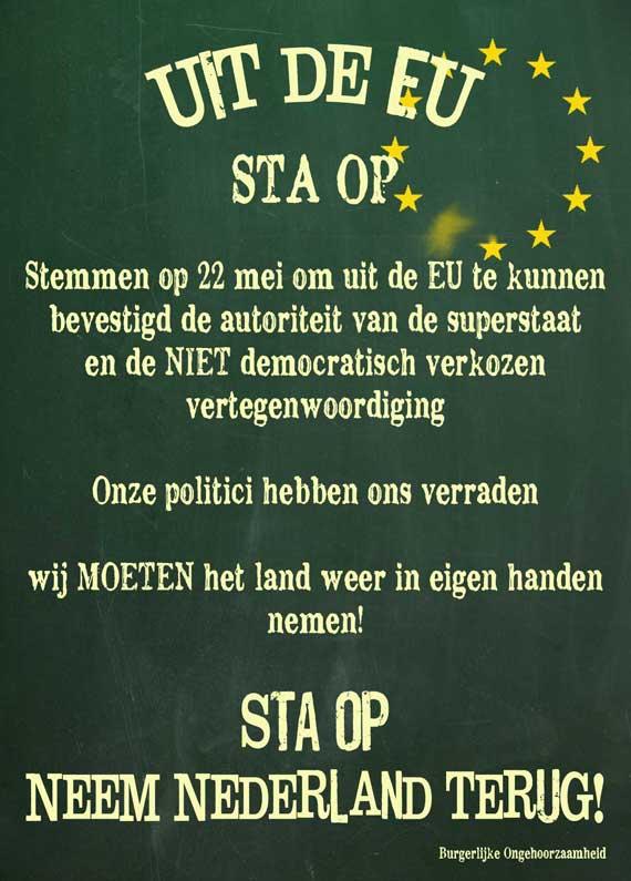 EU eruit. krijtbord burgerlijke ongehoorzaamheid