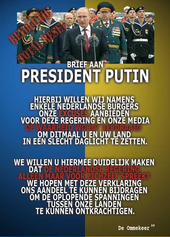 Brief aan Vladimir Putin door De Ommekeer