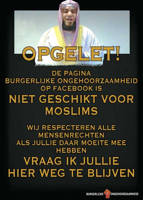 Vrijheid van meningsuiting. Niet geschikt voor Moslims - Burgerlijke Ongehoorzaamheid